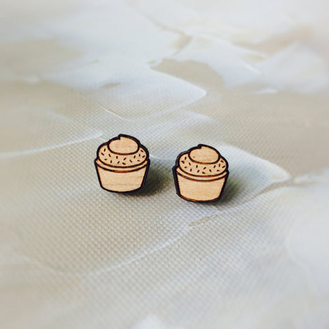 Cupcake earrings - wooden earrings - laser cut earrings - kookinuts - laser cut jewellery - baking cupcakes - jewelry - kookinuts