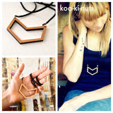 Chevron necklace - laser cut Tasmanian Blackwood - kookinuts - Bronze