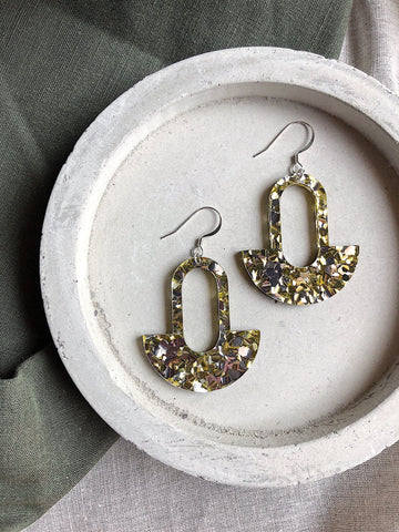 Glitter Earrings - Chunky Gold and Silver Bell - kookinuts