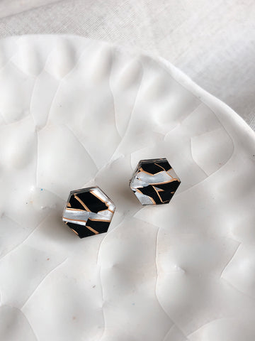 'Hexi' geometric stud post earrings - Multi-tiger stripe - kookinuts