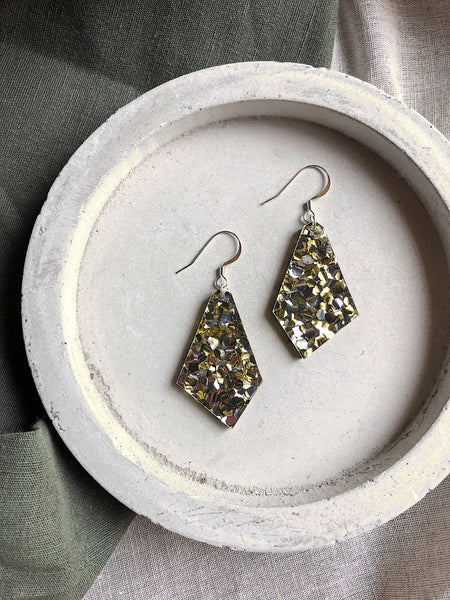 Glitter Earrings - Chunky Gold + Silver Kite - kookinuts