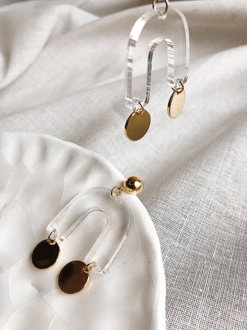 'Abstract' earrings - clear acrylic + polished gold - kookinuts