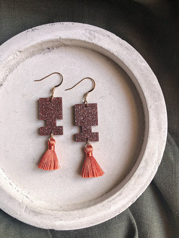Glitter Earrings - Burnt Orange Glitter Jigsaw Tassel - kookinuts