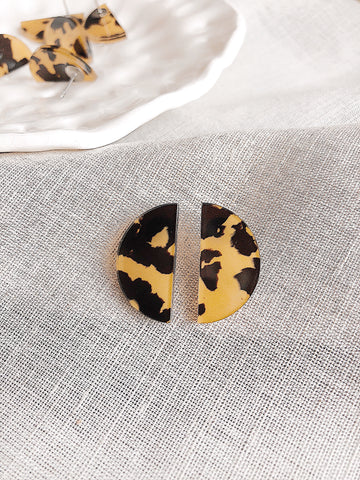 'Demi' semi-circle post earrings - Caramel tortoiseshell - kookinuts