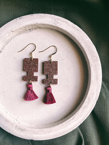 Glitter Earrings - Maroon Glitter Jigsaw Tassel - kookinuts