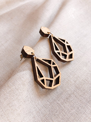 'Hollow Gem Drop' Laser cut Tasmanian Blackwood drop earrings - kookinuts
