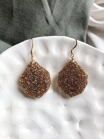 Glitter Earrings - Fine Glitter Gold Gem Drop - kookinuts