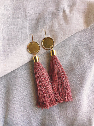Long silk tassel earrings - Dusty Pink - kookinuts