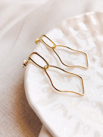 'Bilateral' gold link drop earrings - kookinuts