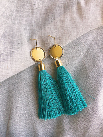 Long silk tassel earrings - Jade Green - kookinuts