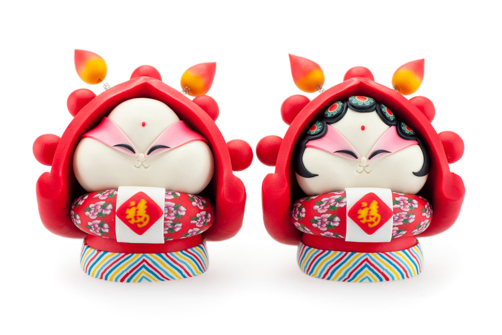 Rabbit God Double Fortune/Happiness (Pair)