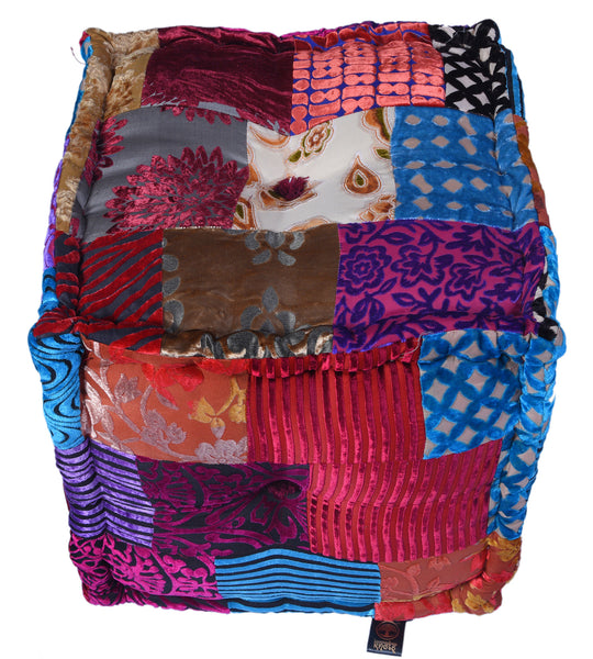 Velvet Patchwork Pouffes (Square), POUFFE - Knots Furniture