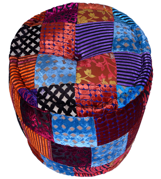 Velvet Patchwork Pouffe (Round), POUFFE - Knots Furniture
