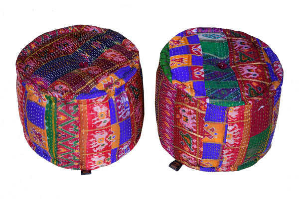 Vintage Silk Sari Hand Quilted Pouffe, POUFFE - Knots Furniture