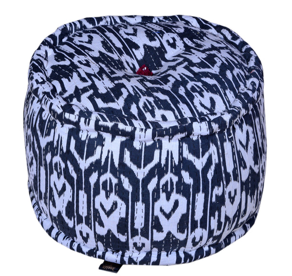 Cotton Pattern Printed Pouffe, POUFFE - Knots Furniture