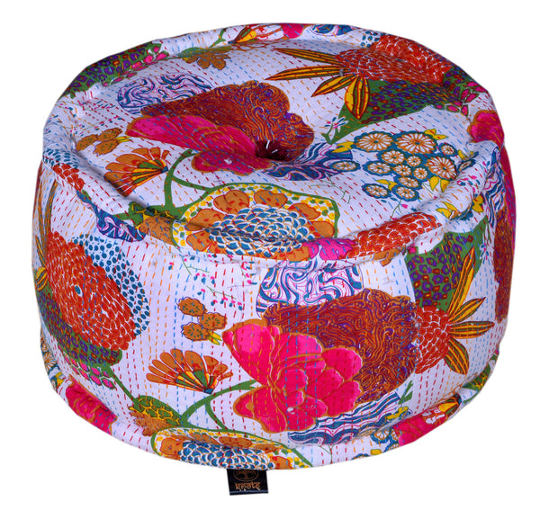 Cotton Flower Printed Pouffe, POUFFE - Knots Furniture