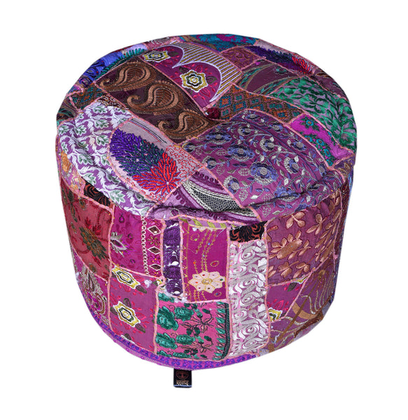 Cotton Patchwork Pouffe, POUFFE - Knots Furniture