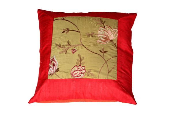 Raw Silk with Embroidery, CUSHION - Knots Furniture