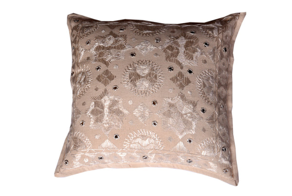 Cotton with Silk Hand Threaded Embroidery, CUSHION - Knots Furniture