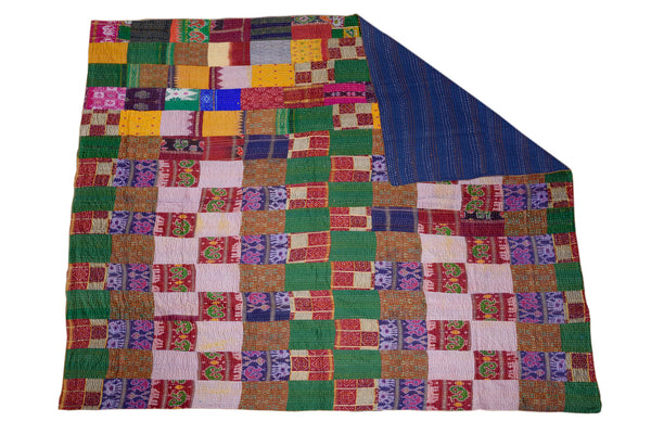 Vintage Sari Quilted Patchwork Throw, THROW - Knots Furniture