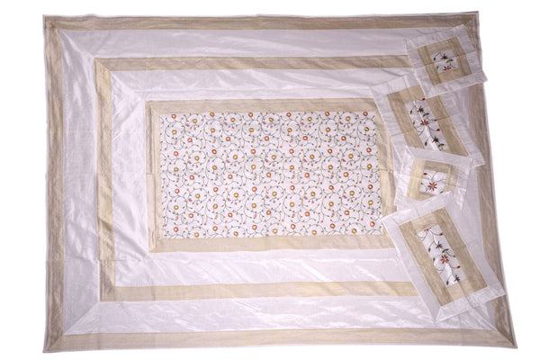 Artificial Silk with Hand Embroidery Bedcover, BEDCOVER - Knots Furniture