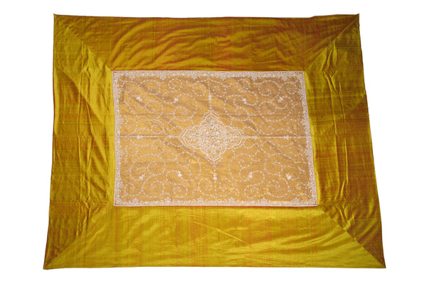 Raw Silk with Zardogi Work Bedcover, BEDCOVER - Knots Furniture