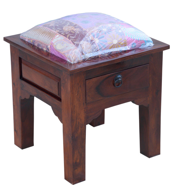 Stool with Patchwork Cushion, CHAIR - Knots Furniture