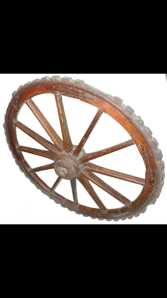 Victorian Wooden Buffalo Cart Wheel,  - Knots Furniture