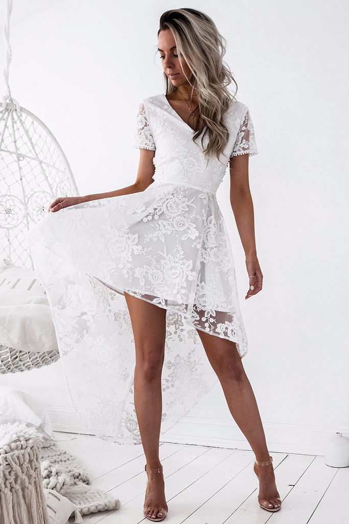 Shay high low Dress - White