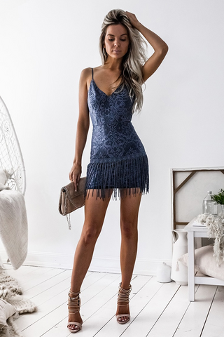 Shay Lace Dress - Navy