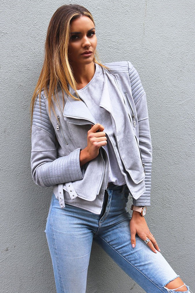Bessy Biker Jacket - Dove Grey