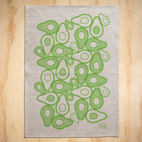 TEA TOWEL: 100% LINEN - AVOCADO