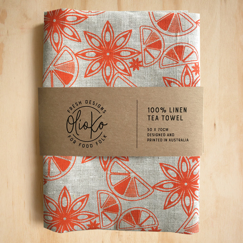 TEA TOWEL: 100% LINEN - NEGRONI