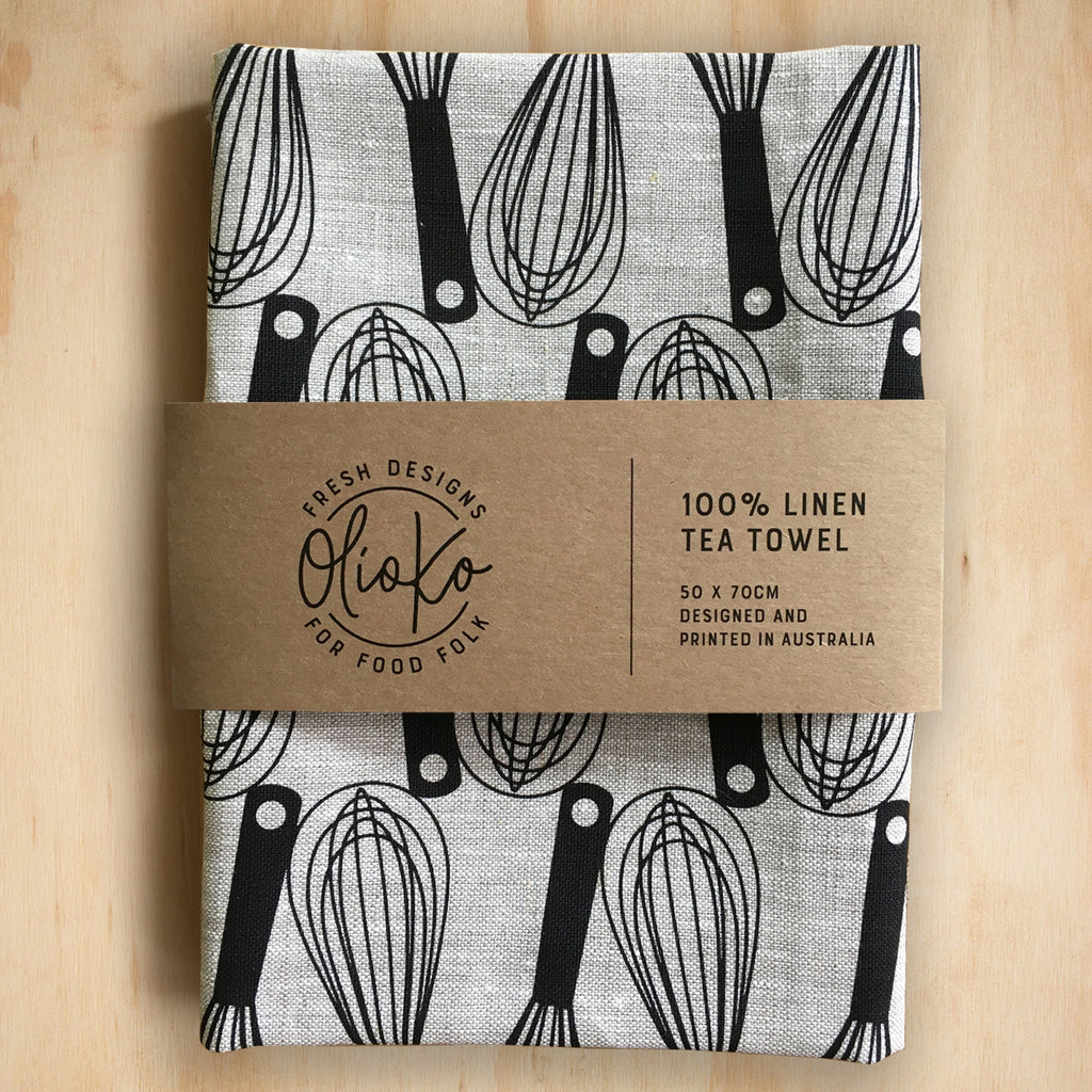 TEA TOWEL: 100% LINEN - WHISKS - BLACK ON NATURAL