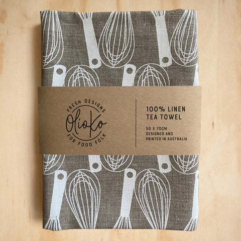 TEA TOWEL: 100% LINEN - WHISKS - WHITE ON FLAX
