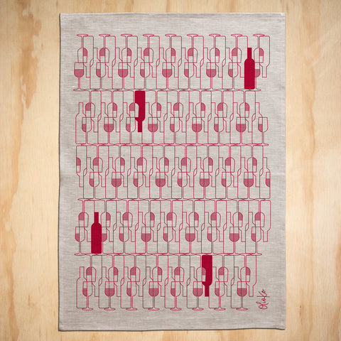 TEA TOWEL: 100% LINEN -  VINO