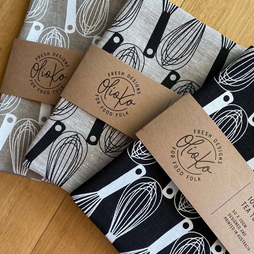 TEA TOWEL: 100% LINEN - WHISKS - WHITE ON BLACK
