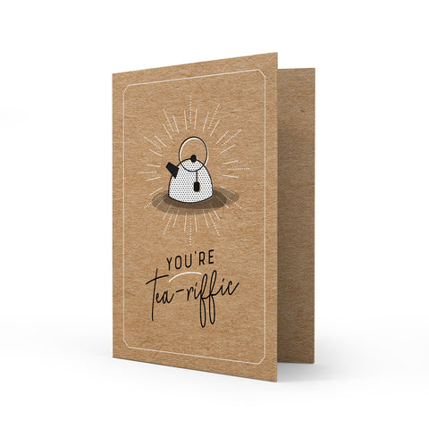 Kraft Greeting Card - Tea-riffic