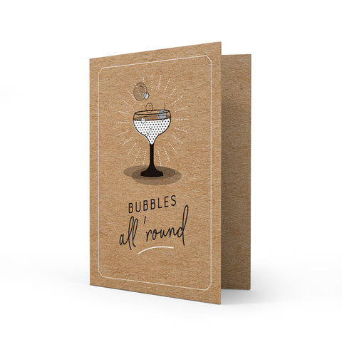 Kraft Greeting Card - Bubbles
