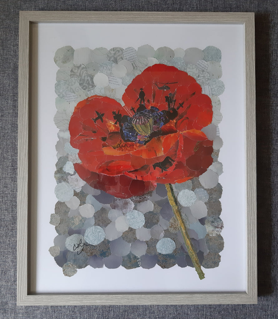 Original Poppy Torn Paper Collage