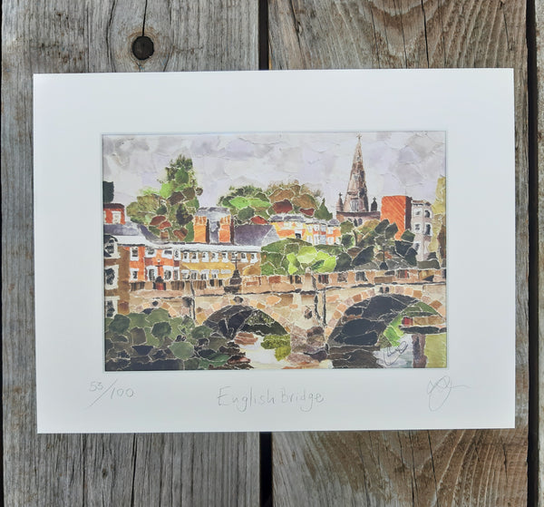 English Bridge, Shrewsbury A4 Print
