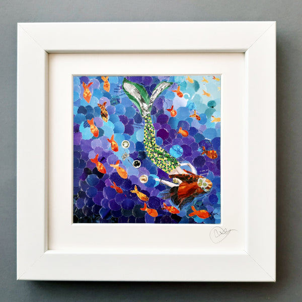 Mermaid in Green Gown Mini Print Framed