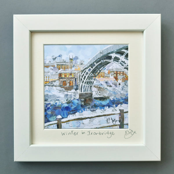 Ironbridge in Winter Mini Print Framed