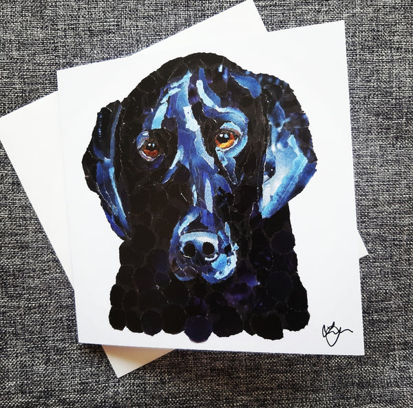 Black Labrador Dog Card