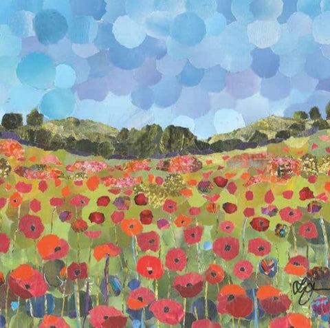 Poppy Field, Shropshire Mini Print Framed