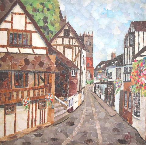 Fish Street, Shrewsbury Mini Print Framed