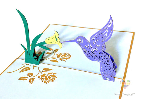 Pop up card Hummingbird 4.75 x 7 inch (AN058-1218)