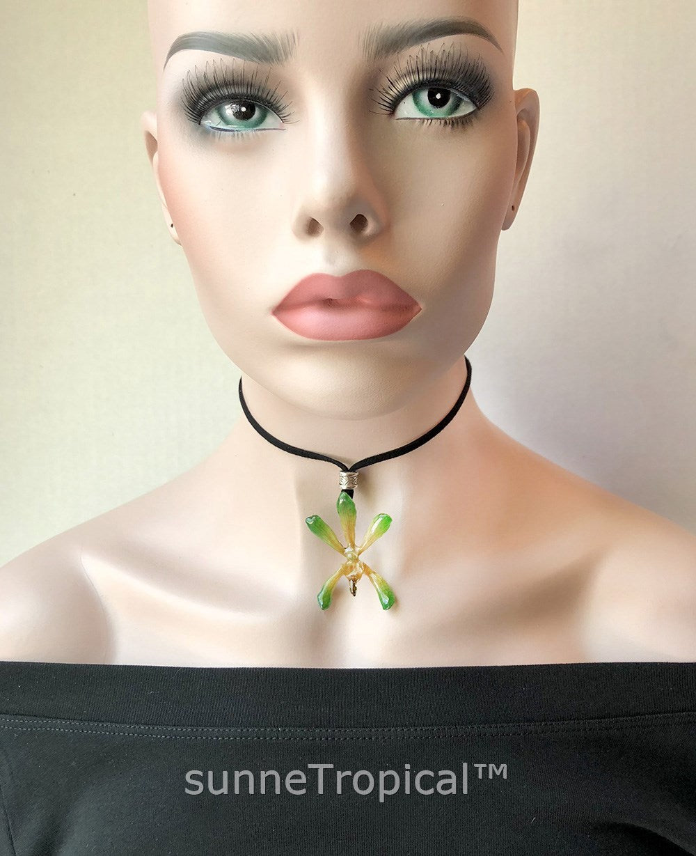 Charlood ARACHNOSTYLIS ORCHID Real Flower Jewelry - Green