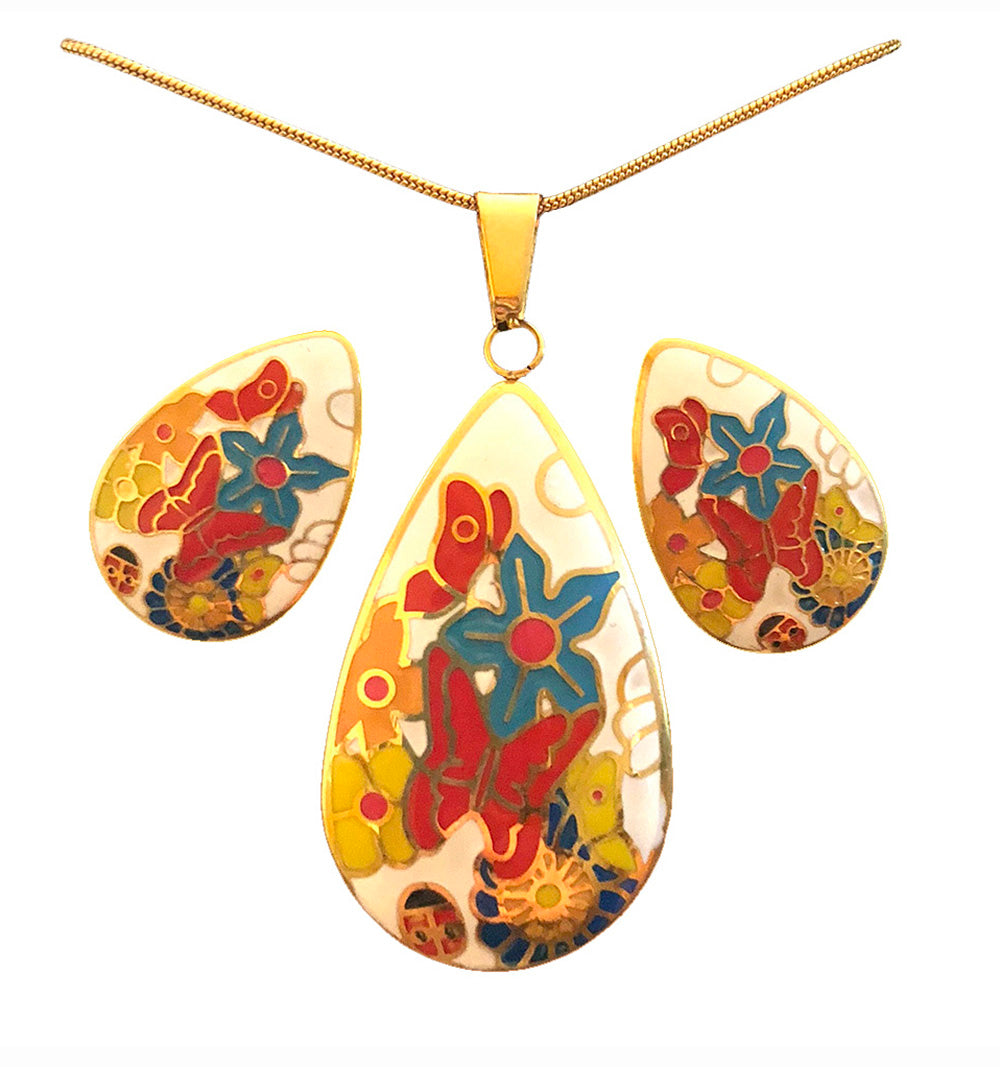 Jewelry Set for women Gold Plated Stainless Steel Butterfly Botanica Garden (Drop)