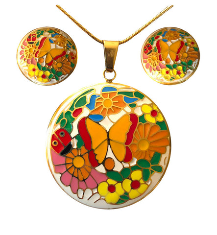 Jewelry Set for women Gold Plated Stainless Steel Butterfly Botanica Garden (Round)